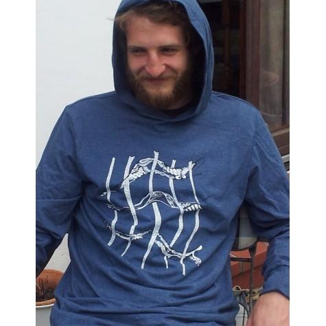Unisex hoodie with grid-pattern