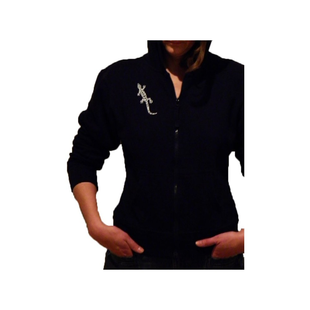 women Comfortable Hooded Jacket with Gecko