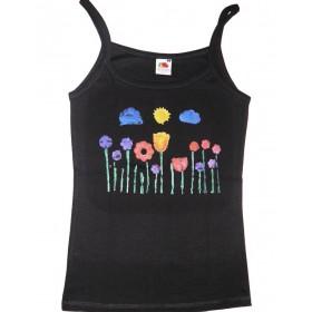 Stimmungsvolles Träger-Shirt mit Blumenwiese
