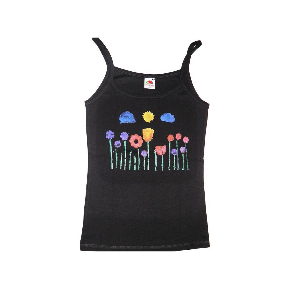 Damen Stimmungsvolles Träger-Shirt mit Blumenwiese