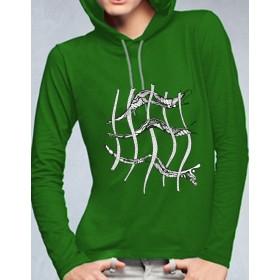 women trendy hoodie with grid-design