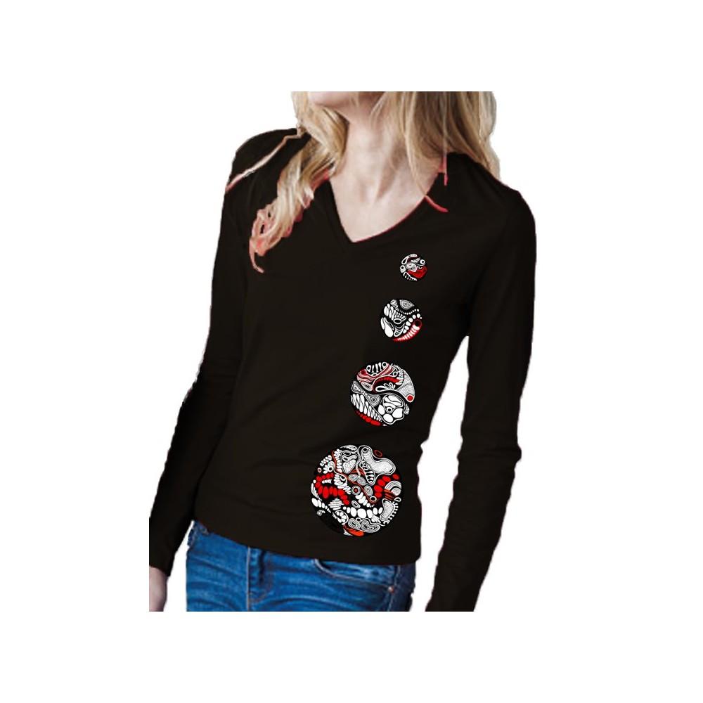 """Damen Elegantes Langarm-V-Shirt """"4 Kreise"""""""