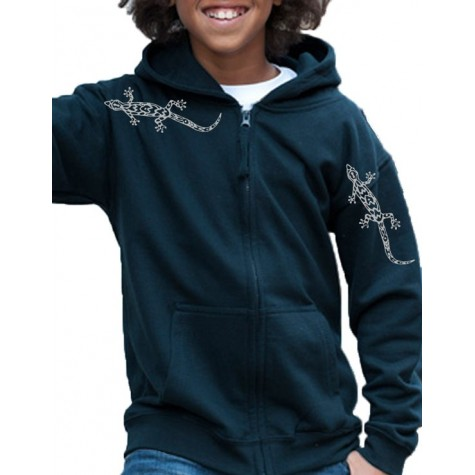 sweatshirt for girls & boys with metallic geckos