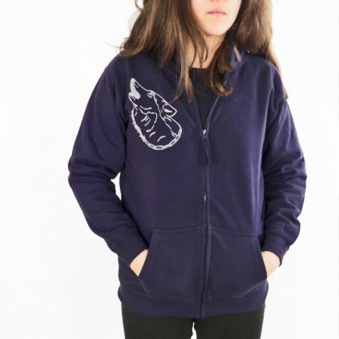 Hoodie jacket with animal print Wolf