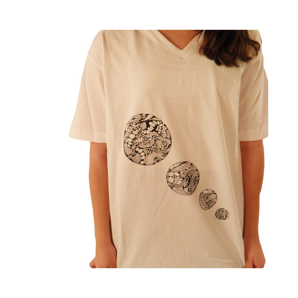 T-Shirts kurzarm Herren T-Shirt mit V-Ausschnitt und 4 Kreise-Print, Unikat in L