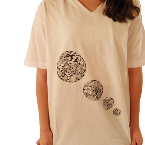 Herren T-Shirt mit V-Ausschnitt und 4 Kreise-Print, Unikat in L