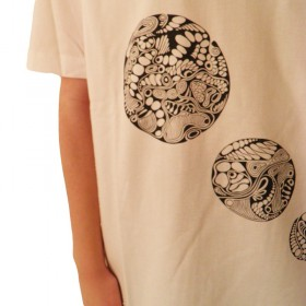 T-Shirts short sleeves Men's T-Shirt with V-neck and 4 circles-print, unique in L