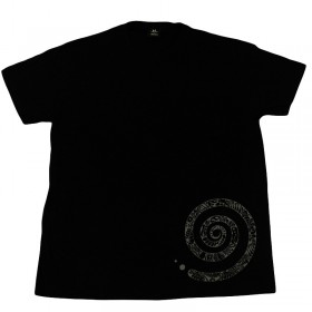 Men's T-Shirt with round neckline and spiral print, unique in XL