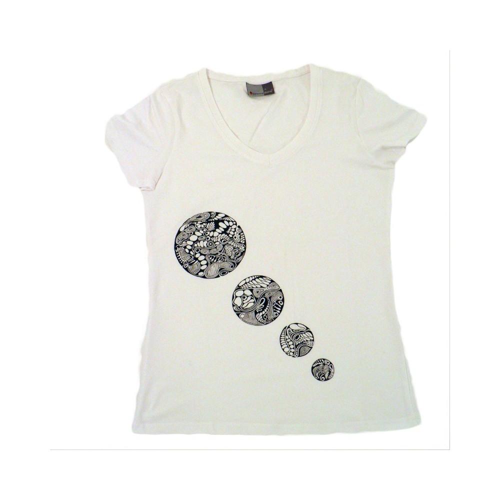 T-Shirts & Sweatshirts Damen T-Shirt 4 Kreise, Unikat in M
