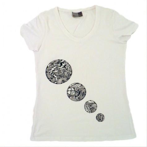 Damen T-Shirt 4 Kreise, Unikat in M