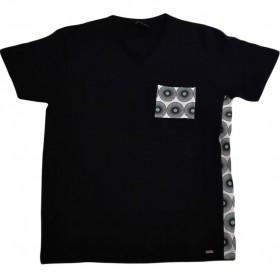 Dunkelblaues Herren T-Shirt mit V-Ausschnitt im Mix-Style in XL