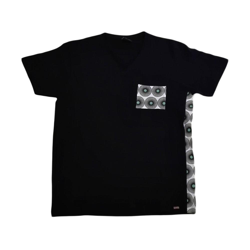 T-Shirts & Sweatshirts Dunkelblaues Herren T-Shirt mit V-Ausschnitt im Mix-Style in XL