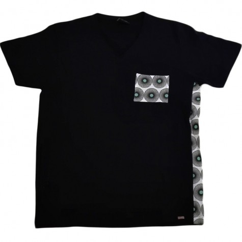 Black Men's T-Shirt with V-neck in mix-style