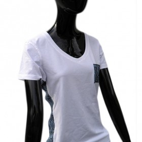 Fashionable white women's t-shirt with V-neck