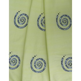 ODDMENT: Jersey drapery - spiral yellow
