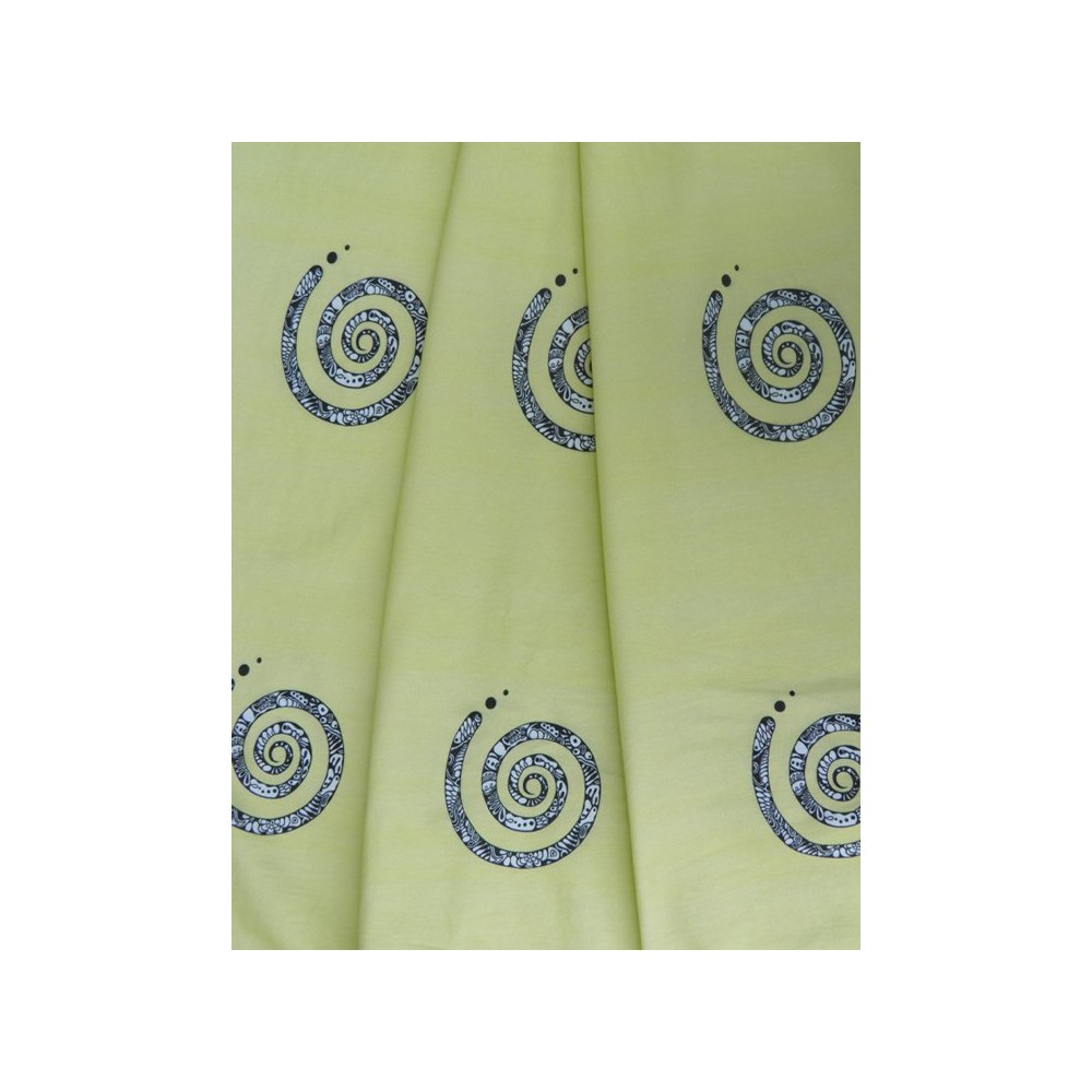 Stoffe RESTSTܜCK: Jersey - Spiralen gelb