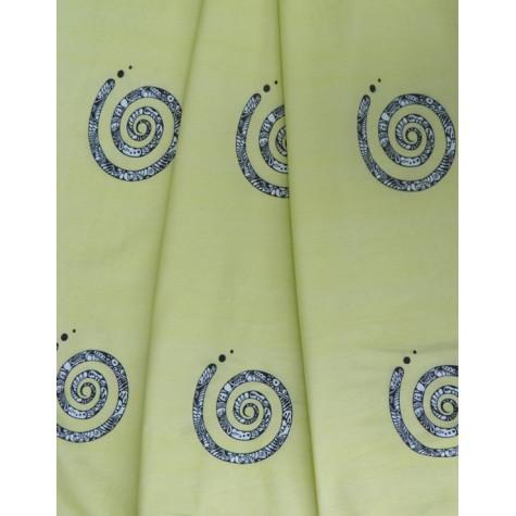 ODDMENT: Jersey drapery - spiral yellow