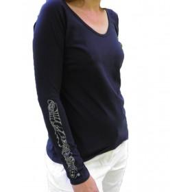 Damen T-Shirt Musterband1 in weiss und navy