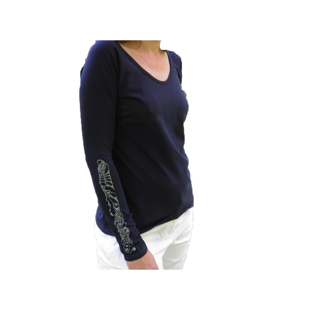women Lady's shirt Musterband1 in white and navy