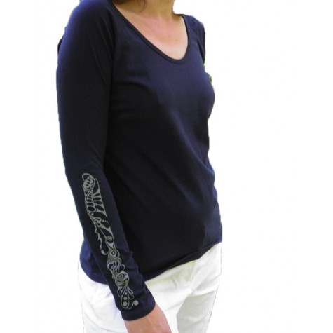 Lady's shirt Musterband1 in white and navy
