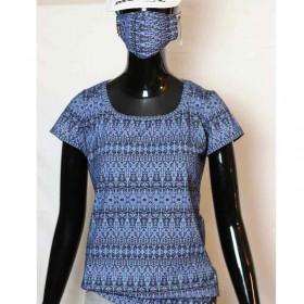 T-Shirt-blau-gemustert-Design