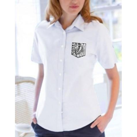 """Damen-Bluse mit """"Brusttaschen""""-Stick"""