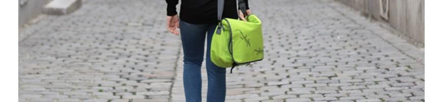 Laptop bags, gym bags, tablet sleeves printed with designs.