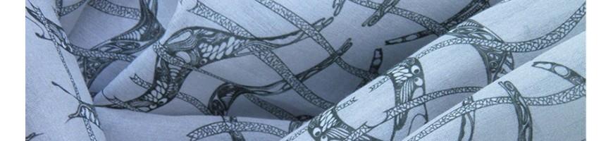 Leichte gemusterte Stoffe aus Baumwolle, Seide, Modal, Kashmere, Bio