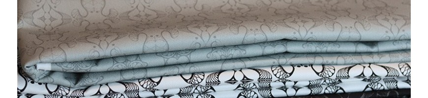 Solid cotton upholstery fabric with design pattern